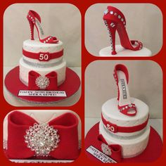 Red, white and bling two tiered birthday cake with fondant stiletto shoe topper.