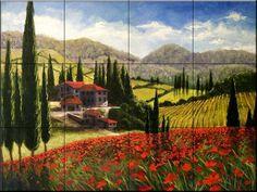 Tuscan Poppies by Malenda Trick - Kitchen Backsplash / Bathroom wall Tile Mural Tile Mural Store-Kitchen,http://www.amazon.com/dp/B00A5TED8G/ref=cm_sw_r_pi_dp_LP7Tsb0HYGMAAV7A