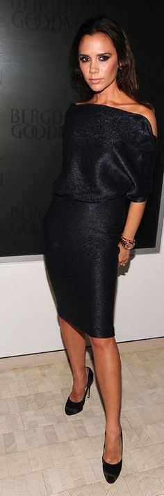 Who made Victoria Beckham's black dress and black pumps that she wore to the Bergdorf Goodman party on September 10, 2010?