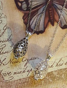 Filigree Teardrop Urn with Glass Orb |2 Style Choices| Keepsake Necklace | Urn Jewelry | Cremation Jewelry | Chain Choice & Fill kit