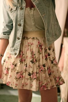 Super cute country chic outfit with floral skirt and jean jacket