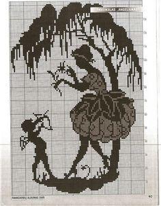 0 point de croix monochrome femme et ange - cross stitch lady and angel Monochrome, Graph Paper, Stitch 2, Le Point, Filet Crochet, Crafts To Do, Cross Stitching, Blackwork, Paper Cutting