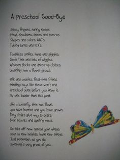 Preschool Poem--for end of year. I don't think I could read it without crying! by Joan Dempsey