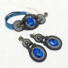 Soutache earrings & bracelet set with blue agate Boho Earrings, Gemstone Earrings, Crystal Earrings, Soutache Bracelet, Bracelet Set, Agate Jewelry, Crystals And Gemstones, Turquoise Bracelet, Etsy