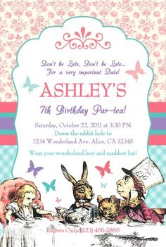Vintage Alice in Wonderland Tea Party Invitations