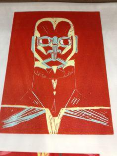 Reduction Lino print of human head Human Head, Lino Prints, How To Make