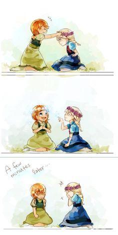 Little Anna and Elsa hahaha