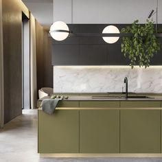 Beautiful Kitchen Designs, Modern Kitchen Design, Beautiful Kitchens, Interior Design Kitchen, Modern Retro Kitchen, Küchen Design, Layout Design, House Design, Design Ideas