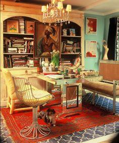 Madeline Weinrib Indigo Brooke Cotton Carpet in designer Ruthie Sommers' Office