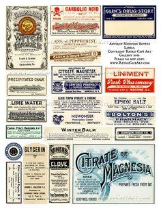 Antique Medicine Bottle Label Collage Sheet