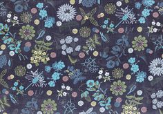 HALF YARD Lecien - Isso Ecco and Hearts - Wildflower Meadow and Bird on BLUE - Cotton Lawn - Pink Purple Green Yellow - Japanese Import by fabricsupply on Etsy Lawn Fabric, Yellow Background, Blue Backgrounds, Pink Purple, Wild Flowers, Printer, Yard, Japanese, Hearts