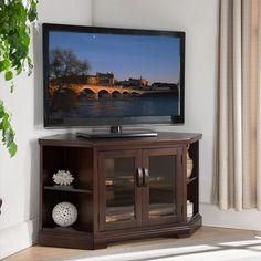 Chocolate Cherry & Bronze Glass 46-inch Corner TV Stand with Bookcases
