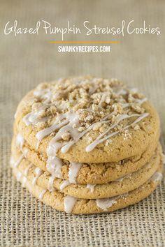 TOP 12 RECIPES OF Easy Glazed Pumpkin Streusel Sugar Cookies.Chewy pumpkin sugar cookies with a vanilla pumpkin glaze and pumpkin streusel topping. Pumpkin Sugar Cookies, Pumpkin Dessert, Sugar Cookies Recipe, Yummy Cookies, Cookie Recipes, Köstliche Desserts, Delicious Desserts, Dessert Recipes, Creative Desserts