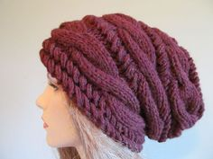 Slouchy Beanie Slouch Hats Oversized Baggy cabled hat  womens Fall Winter accessory Chestnut Brown Burgundy Hand Made Knit. $56.99, via Etsy.