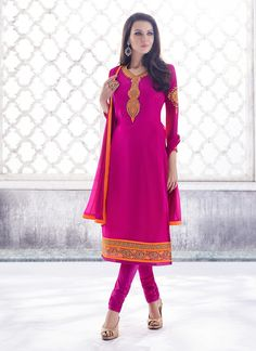 You are bound to make a effective style statement with this Deep Pink Georgette Unstitched Salwar Kameez. The lovely Butta Work & Lace work a substantial attribute of this attire.