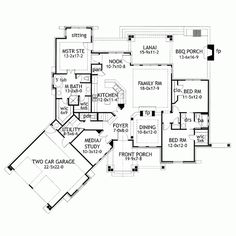 This ranch home floor plan with Texas style influences has 2091 sq. of space. The plan includes a garage & tons of outdoor living space. Tuscan House Plans, Cottage Style House Plans, Craftsman Style House Plans, Cottage Style Homes, Ranch House Plans, Dream House Plans, House Floor Plans, Craftsman Cottage, Bungalow Homes