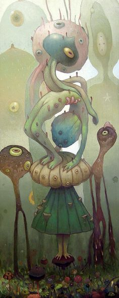 Unusual and somehow endearing, this illustrations by Dhear One shows two humanoid aliens in a surreal landscape
