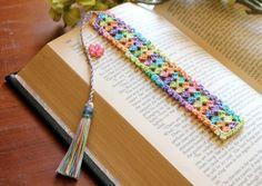 Crochet bookmark flower charm on the tassel spring by Draiguna