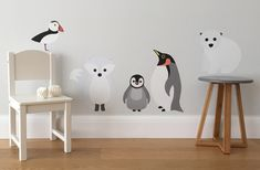 wall stickers - decals - wall stickers for kids' rooms - children's rooms - kids' room decor - penguin wall sticker - polar bear wall sticker - puffin wall sticker - nursery wall stickers - playroom wall stickers - chameleon wall art - go to your room!