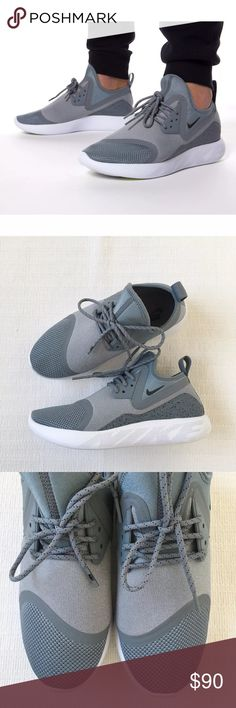 Women's Nike LunarCharge Essential Grey Sneakers Women's Nike LunarCharge Essential Grey Sneakers features a comfortable neoprene boot construction. Style/Color: 923620-002  • Women's size 8.5  • NEW in box (no lid) • No trades •100% authentic Nike Shoes Sneakers
