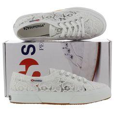 Superga Womens 2750 Macramew Lace Trainers White
