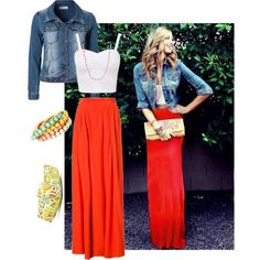 Beautiful Red Maxi Skirt...I would wear a blouse with this though ...