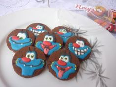 Oggy and the Cokroaches chocolate cookies, with royal icing without kopykake by Noey's Cookies