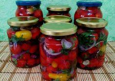 Paradicsomos savanyúság tartósítószer nélkül Pickles, Cucumber, Mason Jars, Foodies, Mason Jar, Pickle, Zucchini, Pickling, Glass Jars