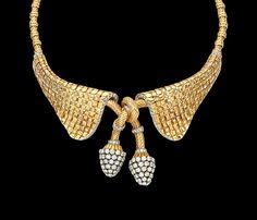 "elegant gold necklace byVERGER FRERES ,French 1940"""