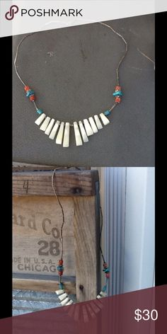 "VTG NATIVE AMERICAN BIB STYLE NECKLACE Pretty VTG Native American bib style necklace has graduated stations of MOP coral & turquoise nuggets with silver fluted beads In between the necklace portion is silver bugle beads with a barrel clasp...I don't know if it's SS I have no way of testing it,it is tarnished but I'm not sure if it's from patina or just made to look like it,all in all its a nice necklace...it measures 17"" long the longest MOP IS 1"" shortest is 1/2"", it's in awesome condition…"