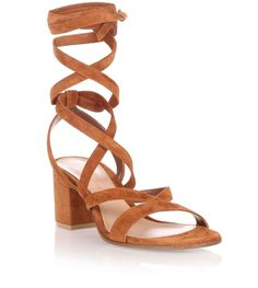 Gianvito Rossi - Janis low tan suede sandal from Savannahs
