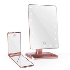 The Impressions Vanity Hollywood Touch DuoTone LED Makeup Mirror features dual light color temperature controlled with soft touch sensor switch - just tap to go from cool daylight white to warm light. Led Makeup Mirror, Led Mirror, Gold Bedroom, Bedroom Decor, White Vanity Mirror, Compact Mirror, Makeup Organization, New Room, Tumbler