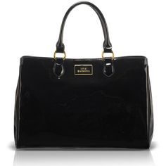 LULU GUINNESS Black Patent Leather Large Amelia (7 350 ZAR) ❤ liked on Polyvore featuring bags, handbags, shoulder bags, purses, bolsas, accessories, black studded purse, patent leather purse, black patent leather purse and purse