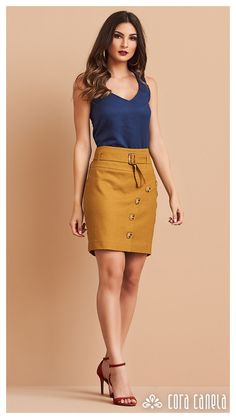 Casual Skirt Outfits, Office Outfits, Fashion 101, Fashion Looks, Pencil Skirt Work, Designer Dresses, Dress Skirt, Beautiful Dresses, Fashion Dresses