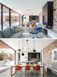 In this open plan living room, dining room, and kitchen, there's a recycled brick wall that wraps around the room, and provides a backdrop for the black fireplace and concrete bench. Modern House Facades, Modern Architecture House, Modern House Plans, Modern House Design, Brick Interior, Interior Design, Kitchen Interior, Home Fireplace, Black Fireplace