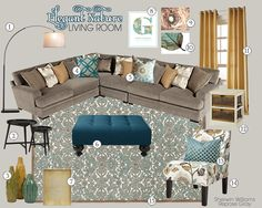 Elegant Nature Living Room Mood Board