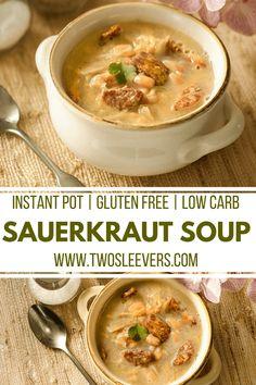 Sauerkraut Soup | Instant Pot Sauerkraut Soup | Cabbage Soup | Instant Pot Cabbage Soup | Cabbage Soup Recipe | Instant Pot Soup Recipe | Two Sleevers #instantpot #cabbagesoup #souprecipe via @twosleevers