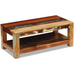 05bbee47df6a Festnight Rustic Coffee Table Storage Shelf Reclaimed Wood End Side Table  Living Room Home Furniture