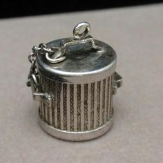 Garbage Can Charm Refuse Bin Trash Vintage Sterling Silver Lid Comes Off | eBay