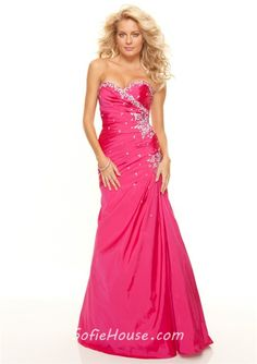 Trumpet/Mermaid sweetheart floor length Hot Pink taffeta prom dress with beading