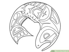 How to Draw Haida Art: 9 Steps (with Pictures) - wikiHowYou can find Haida art and more on our website.How to Draw Haida Art: 9 Steps (with Pictures) - wikiHow Haida Kunst, Inuit Kunst, Art Inuit, Haida Art, Native Art, Native American Art, Kunst Der Aborigines, Native Design, Canadian Art