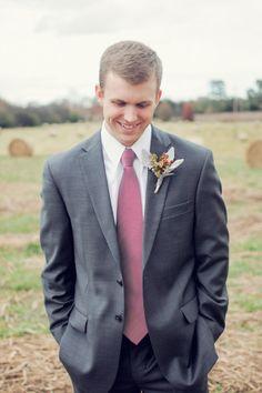 Grey and burgundy groom look. #groom #groomattire #weddingchicks Designed By: Jos A Bank ---> http://www.weddingchicks.com/2014/04/29/family-farmhouse-wedding-retreat/
