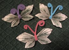 Money bowtie butterfly  (Would be VERY pretty with scrapbook paper I'll bet!)