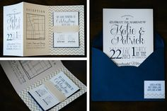 Modern navy wedding invitation suite with champagne chevron | Invitation by http://clarkcreativewi.com on http://WedOverHeels.com