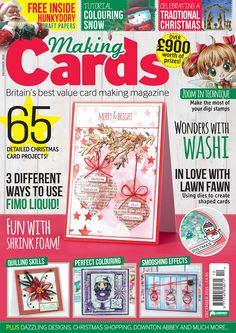 Making Cards December - out now!   Packed full of Christmas projects and 16 free craft papers including a set courtesy of Hunkydory!   Visit www.makingcardsmagazine.com or call 01778 395171 to order! Craft Papers, Christmas Makes, Making Cards, Digi Stamps, Merry And Bright, Christmas Projects, December, Paper Crafts, Free