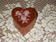 Gorgeous ruby heart paper mache box