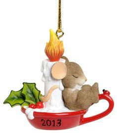 Enesco Charming Tails Let Your Holiday Dreams Glow Ornament, 2.125-Inch