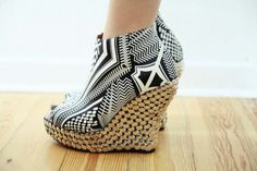 Black and white aztec studded wedge