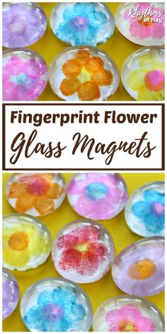 Fingerprint Flower Glass Magnets are a homemade gift idea and fingerprint keepsake craft kids can make. This kid craft makes the perfect gift for Mother's Day, Grandparents Day, or any birthday. | #RhythmsOfPlay #DIYGiftIdea #MothersDayGiftIdea #HandmadeMothersDayGift #HandmadeGift #KidsCraft