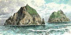 (North Korea) Dokdo Island in the East sea by Cha Jeong-hyeon (1959-   ). Korean brush watercolor.  차정현.